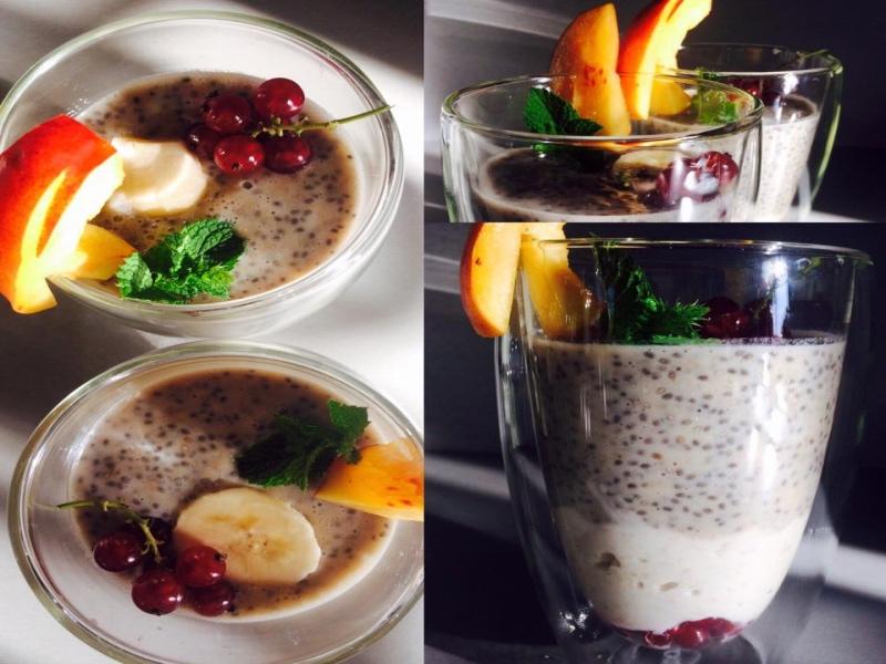 Chia puding s vločkama a ovocem